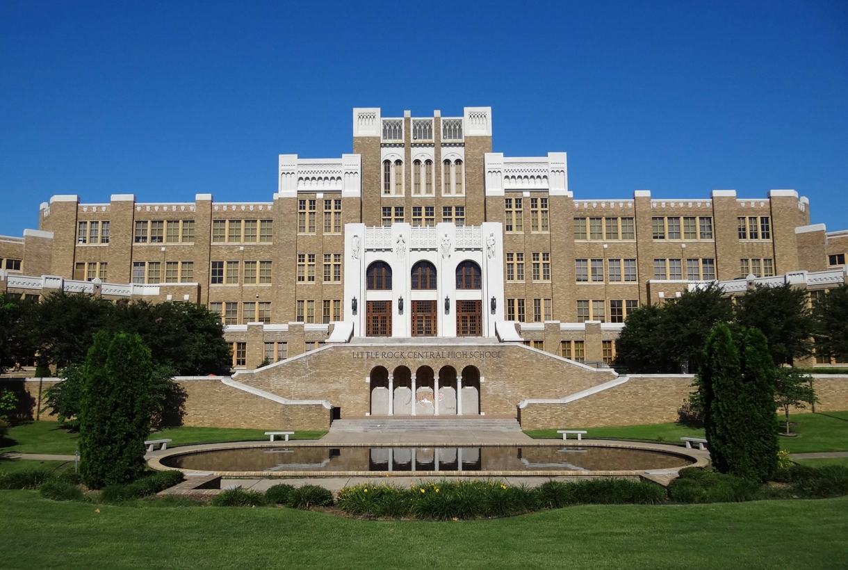 Front of Central High School in Little Rock, Arkansas
