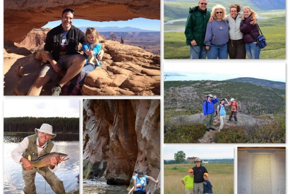 Collage of pictures of children with fathers at various National Parks
