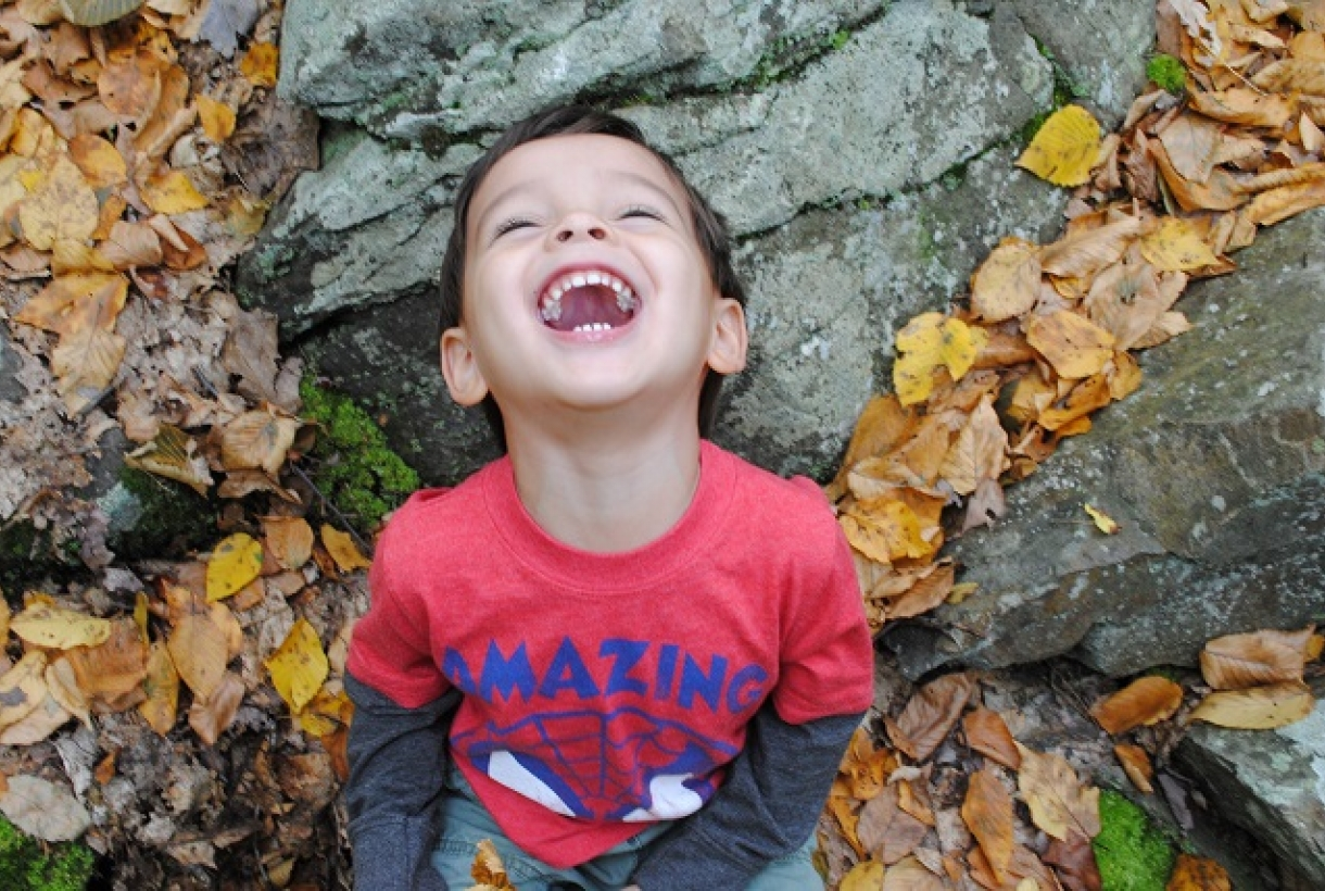 Frank Barrows Son Laughing with leaves