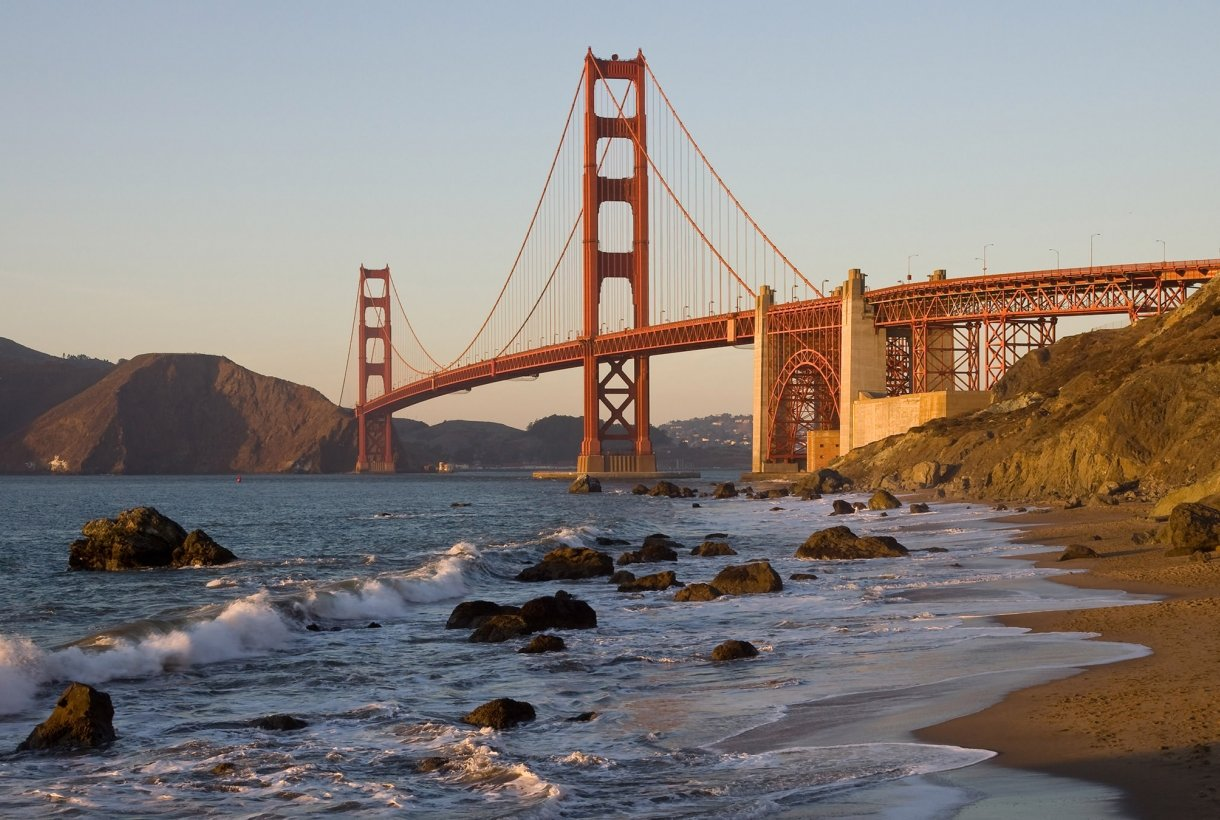 Baker Beach in Golden Gate with a view of the Bridge.