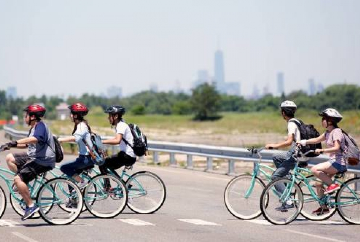 Cyclists at Gateway National Recreation Area
