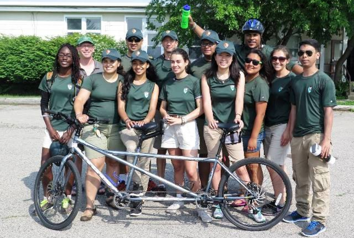 """Young adults participating in cycling with a """"Your Park! Your Health! (YPYH)"""" park program"""