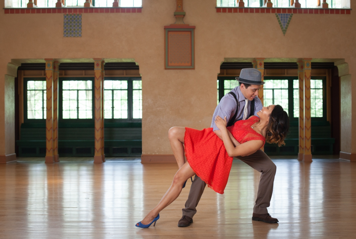 A couple ballroom dancing at Glen Echo Park at George Washington Memorial Parkway