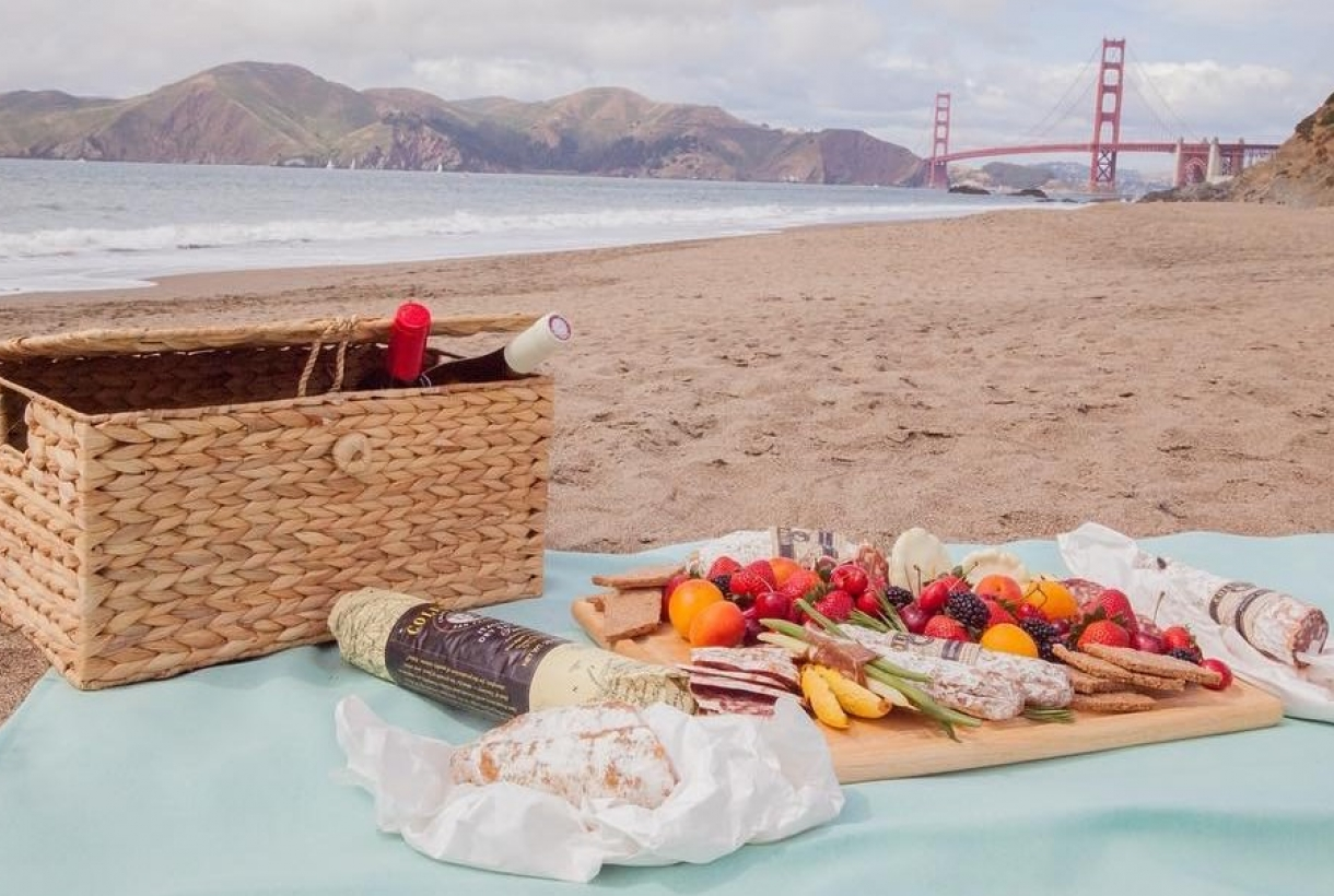 Picnic on the beach with the Golden Gate Bridge in the background