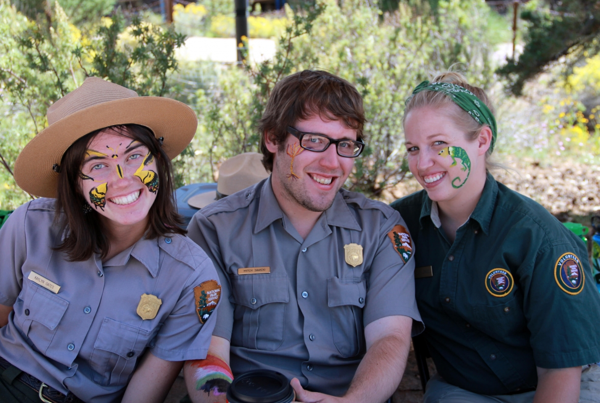 Park Rangers with painted faces