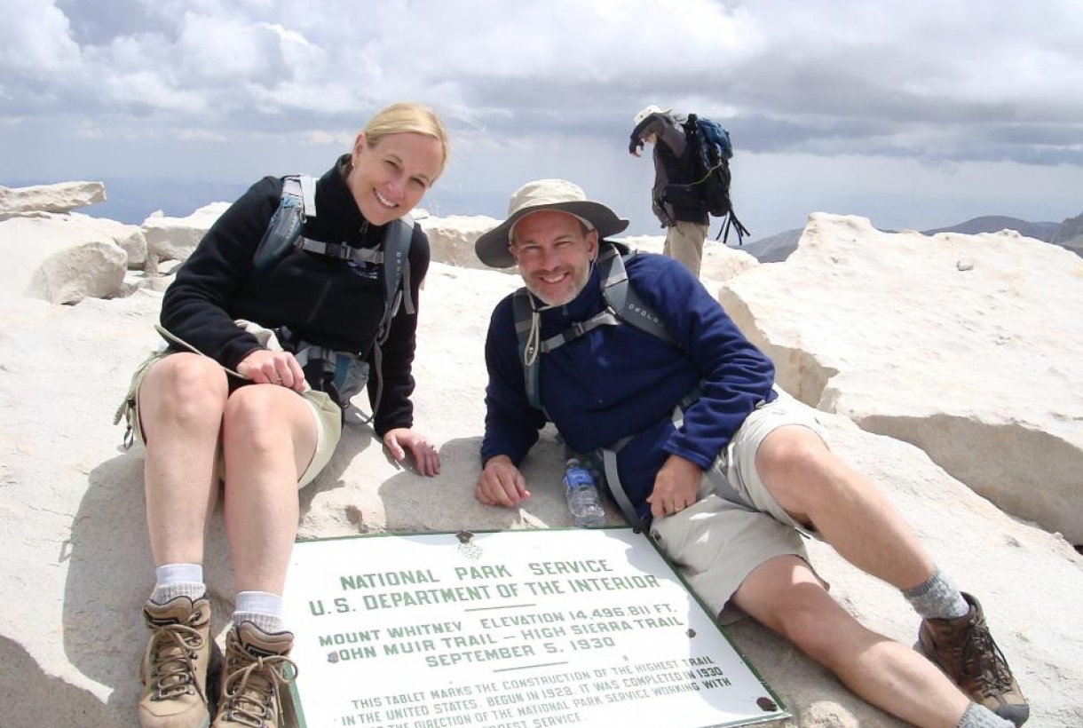 Christy Hartsell, National Park Foundation Vice President of Corporate Partnerships and her husband, Mark, pose for picture while hiking Mt. Whitney