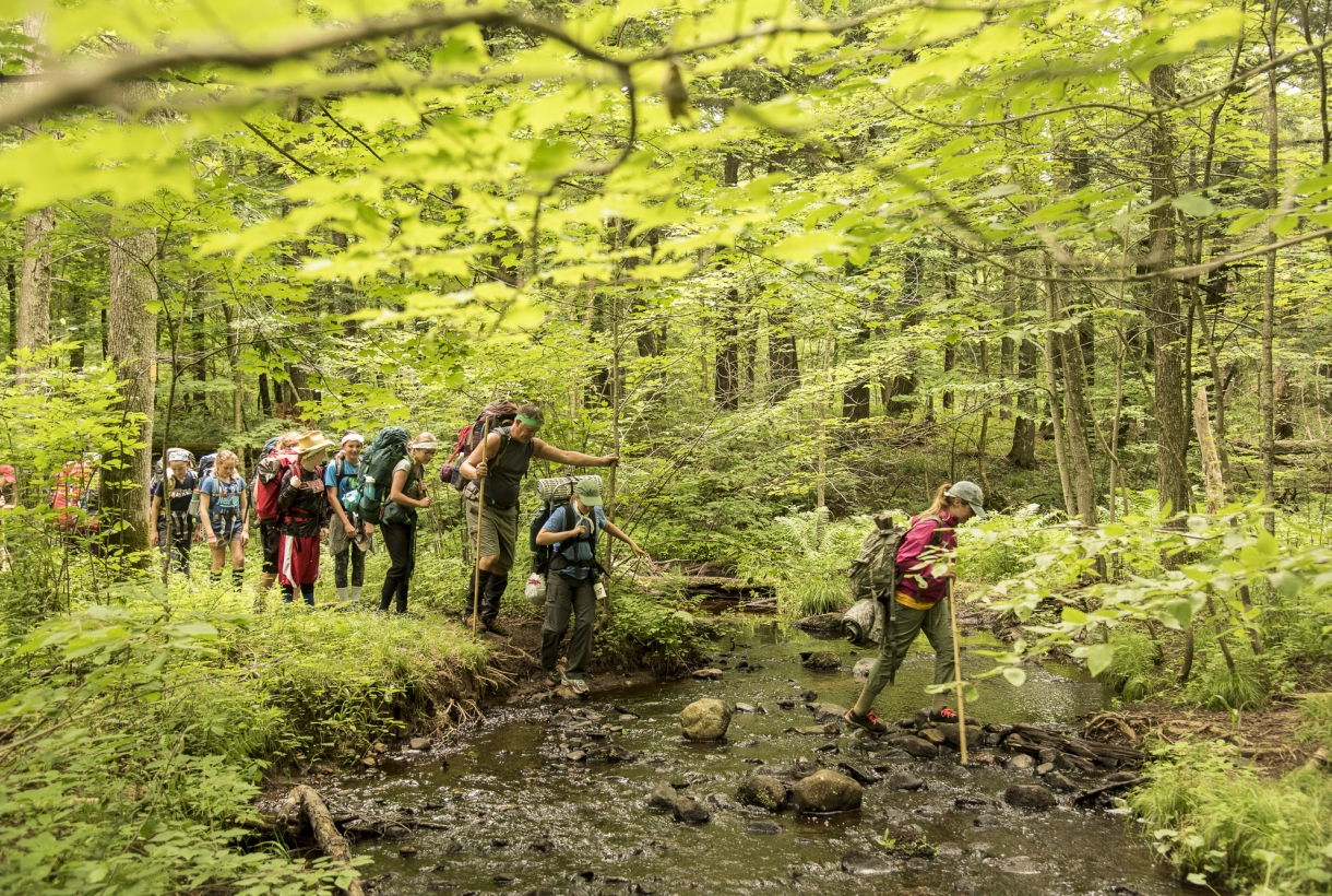 Youth hiking in summer woods