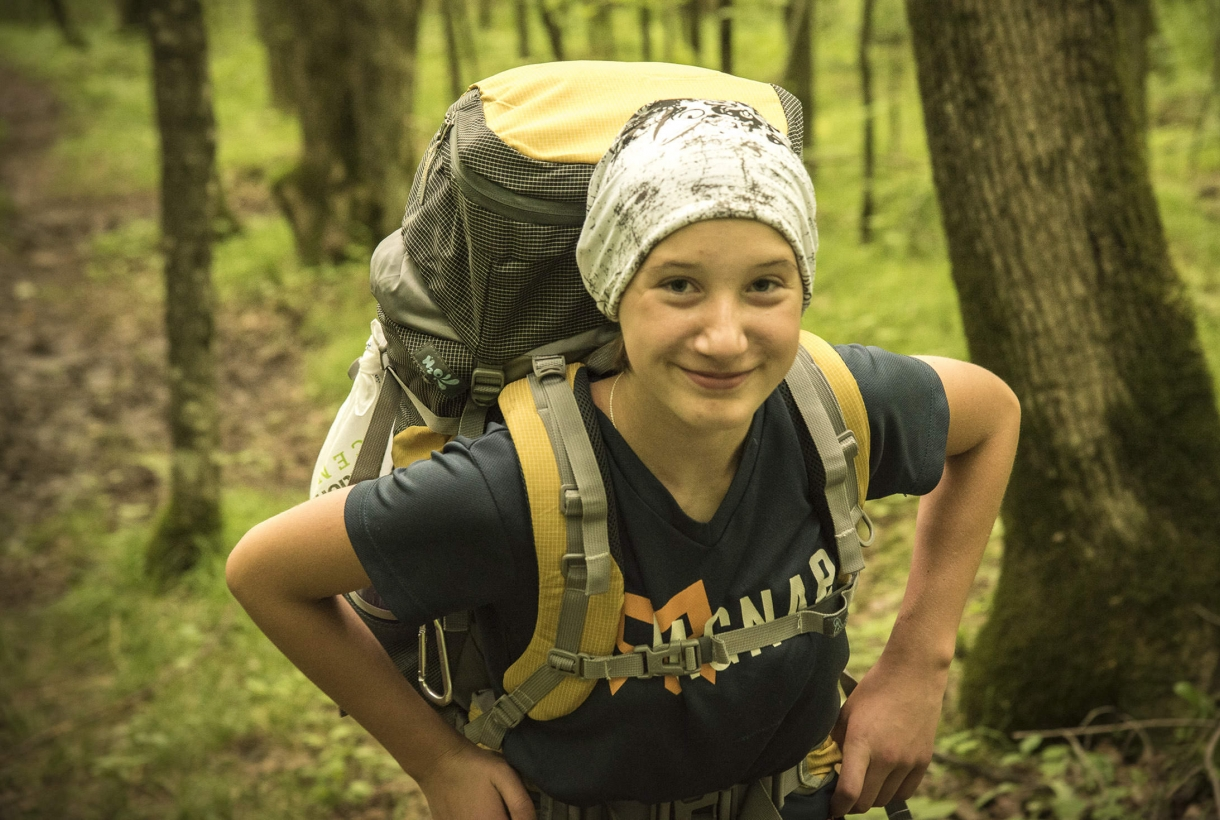 Young woman enjoying a day hike