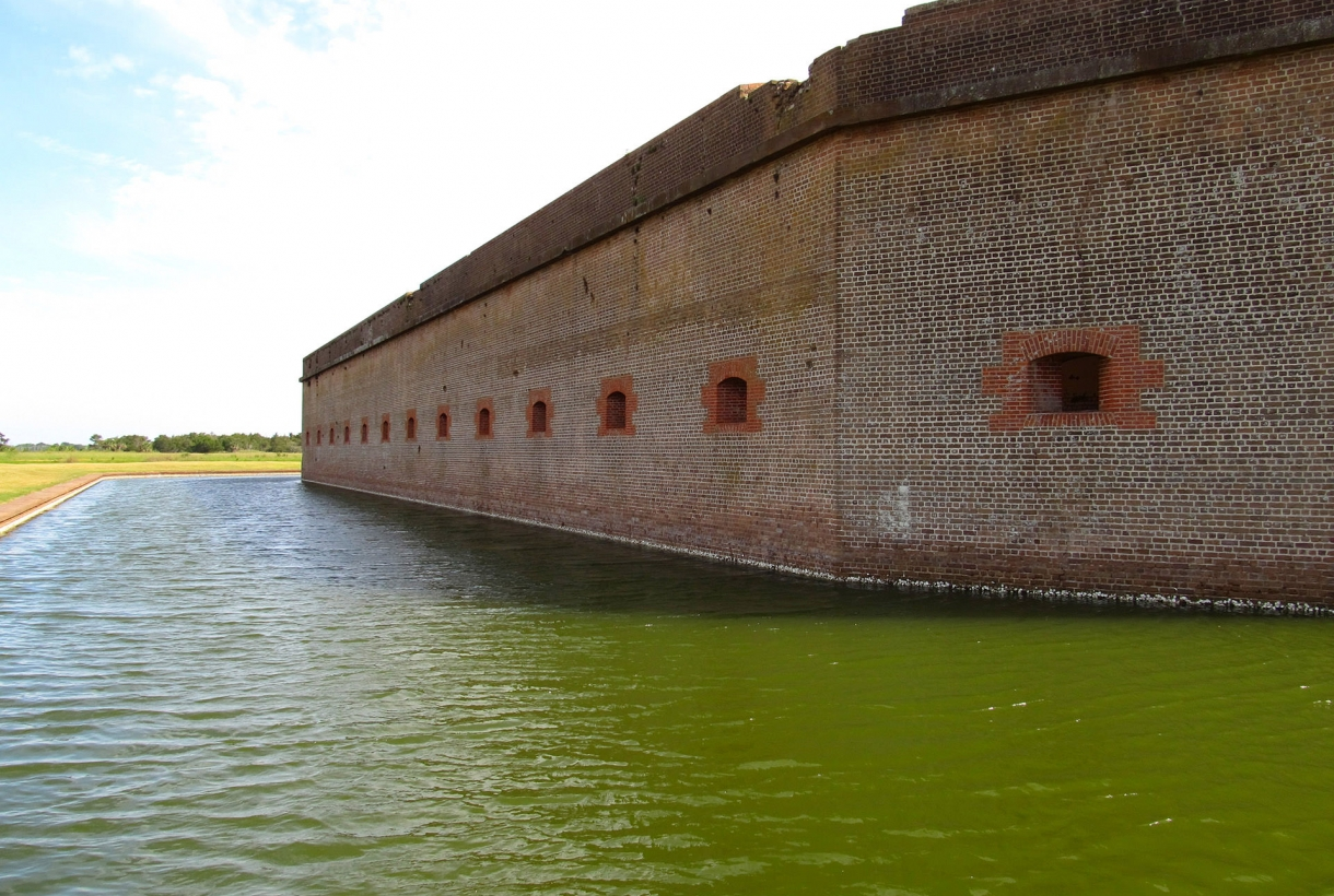 View of moat at Fort Pulaski National Monument