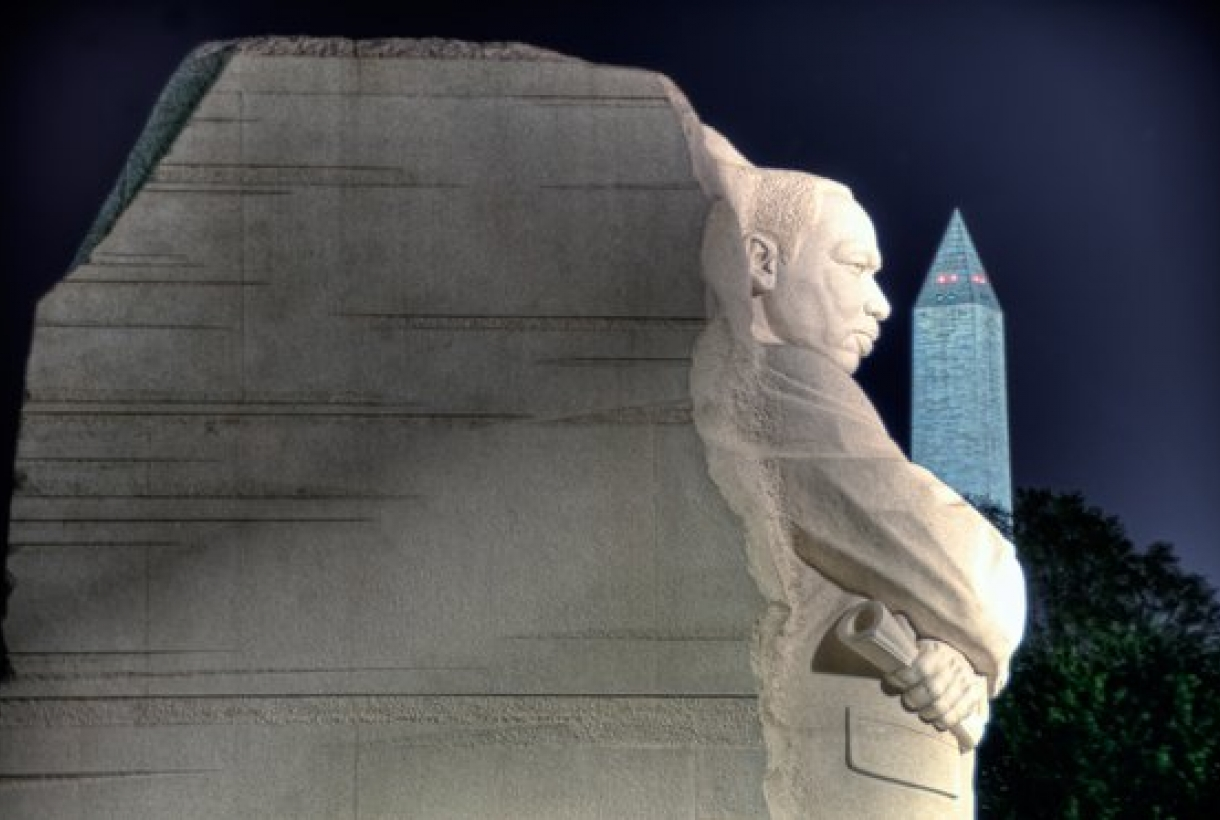 Martin Luther King Jr. Memorial and the Washington Monument at night