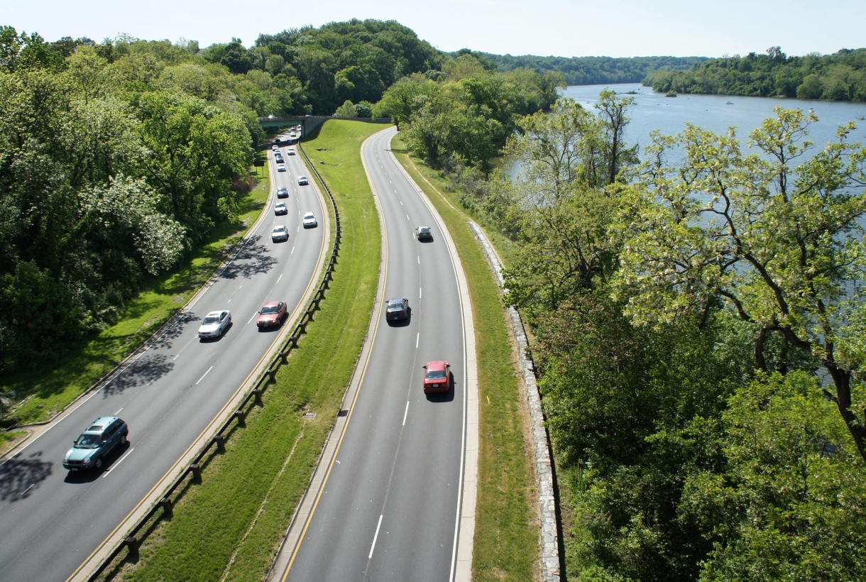 Aerial view of the tree-lined parkway