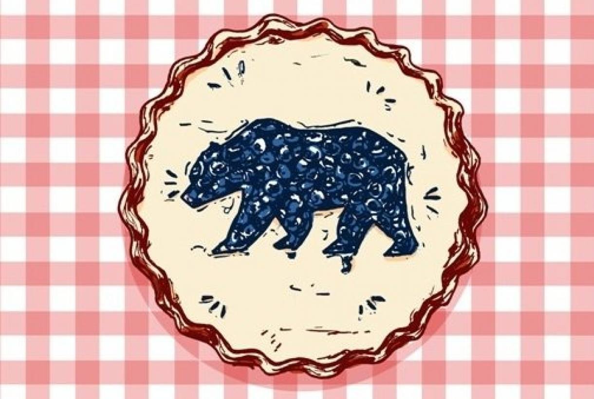 Graphic art of blueberry pie with bear shape.