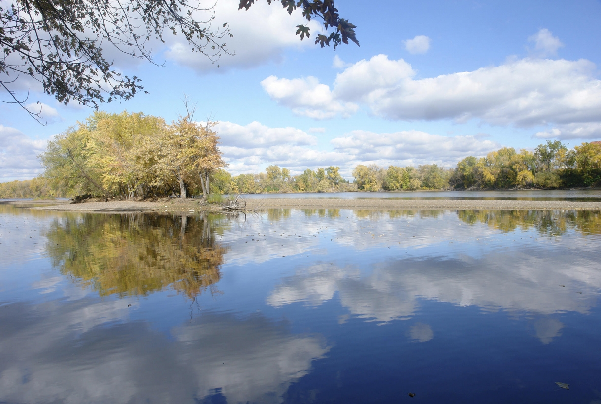Image of Mississippi River water reflection with yellow trees
