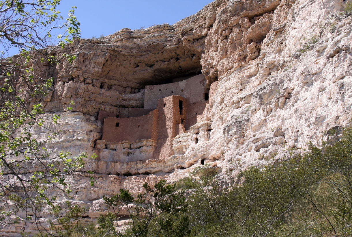 Montezuma's castle in Arizona built into the side of a cliff