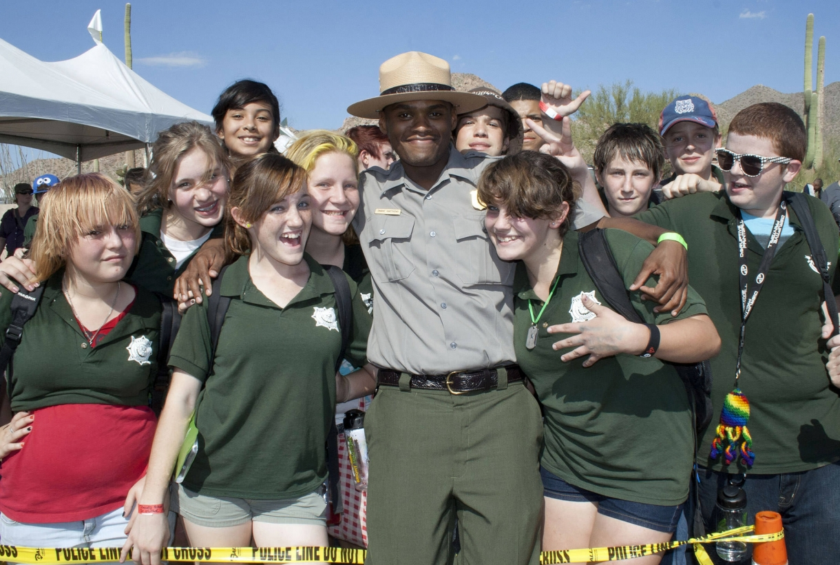 Youth with a park ranger