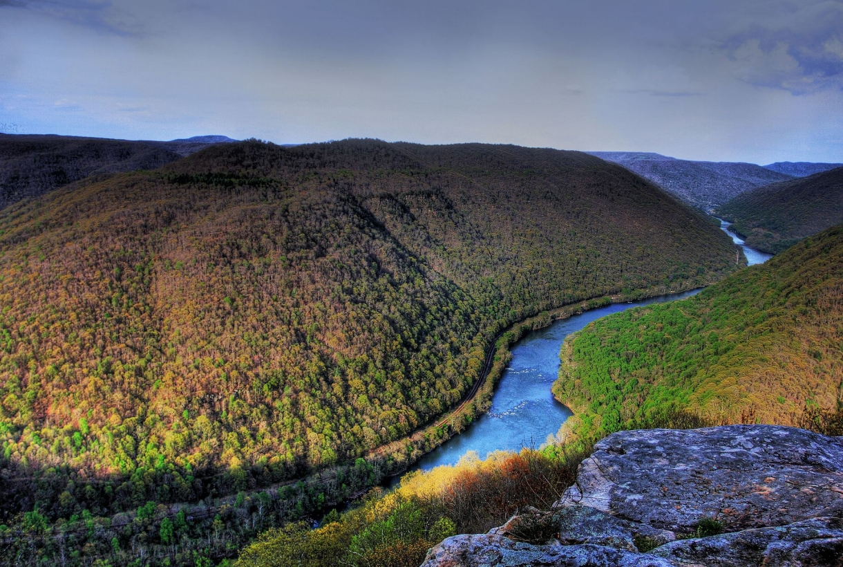 Aerial view of the new river gorge national river at sunset