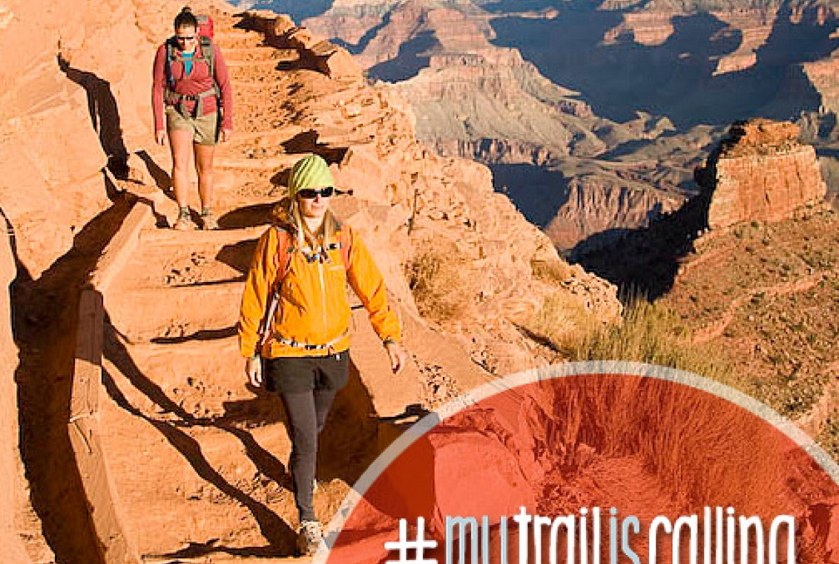 """Two women hikers at the grand canyon, """"#MyTrailisCalling Photo contest"""""""