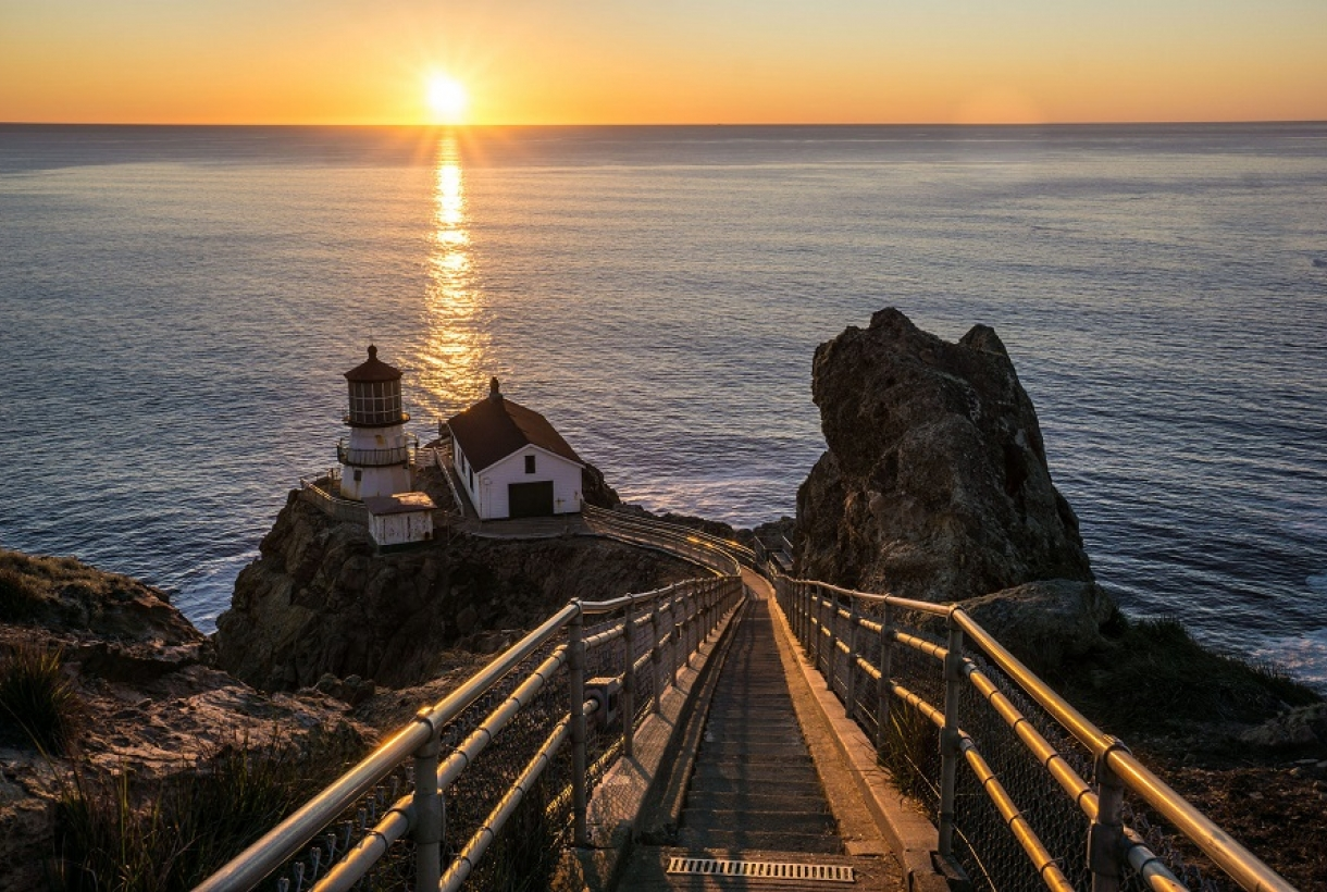 Sunset at Point Reyes National Seashore lighthouse