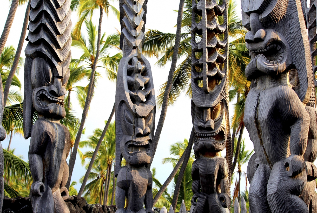 carved wooden spiritual totems