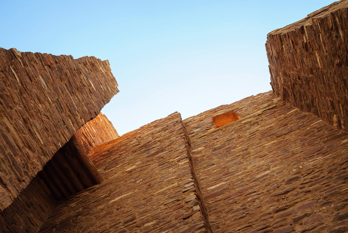 looking up at the Salinas Pueblo Mission