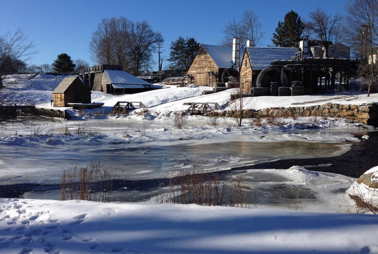 Saugus Iron Works buildings covered in winter snow