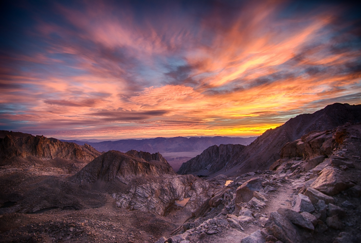 Sunset with colorful clouds over Sequoia National Park
