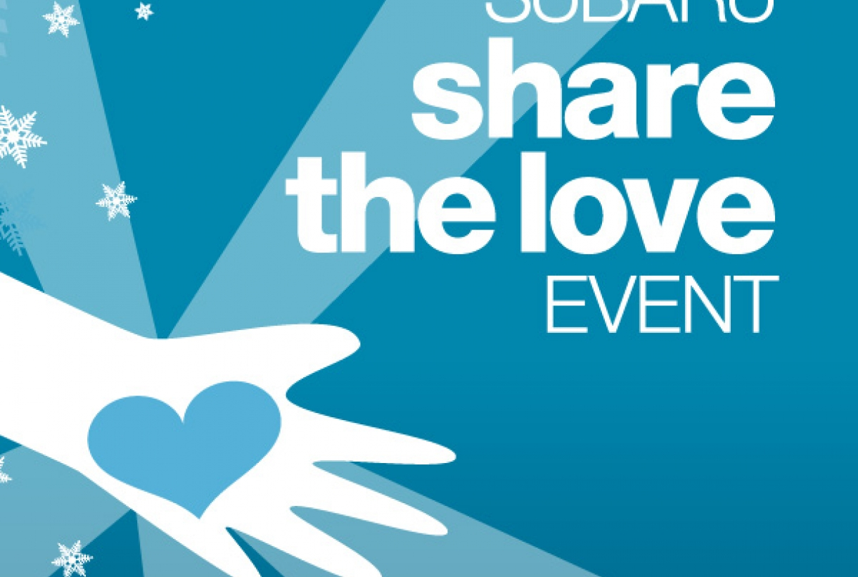 "Blue image reading, ""Subaru share the love event."""