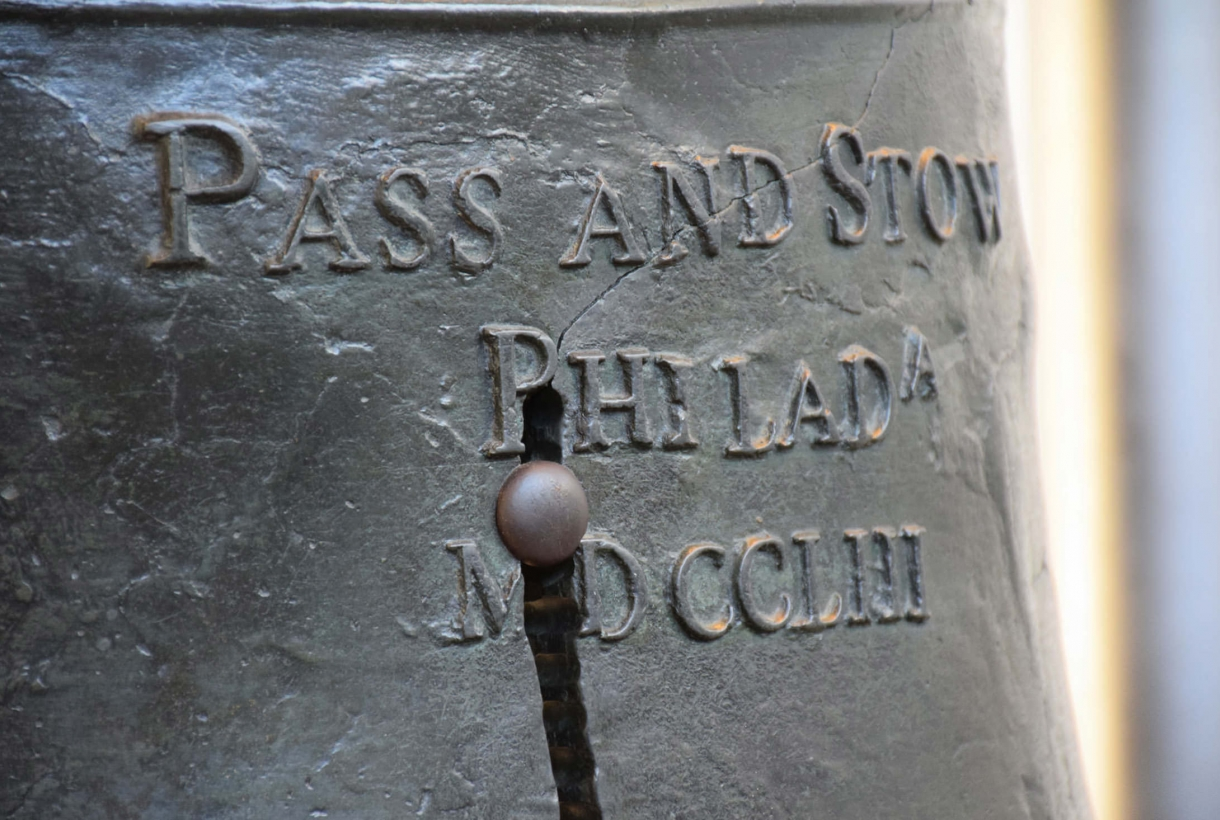 A close-up detail of the Liberty Bell at Independence National Historical Park