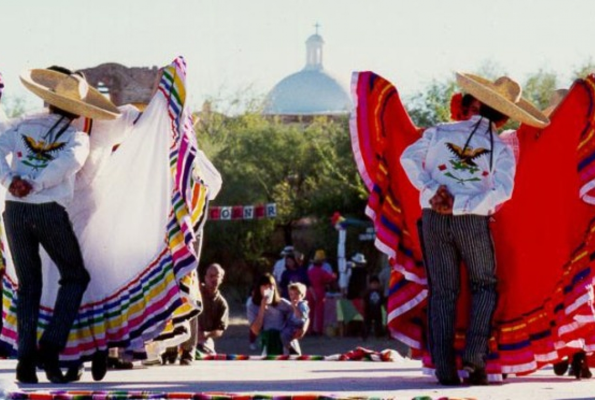 Performers dancing at La Fiesta de Tumacácori
