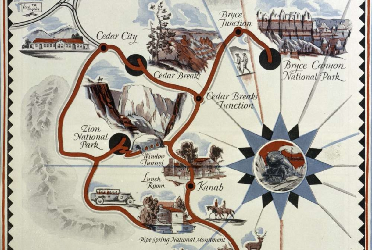 Union Pacific illustrated map showing location of Zion, Grand Canyon, and Bryce National Parks