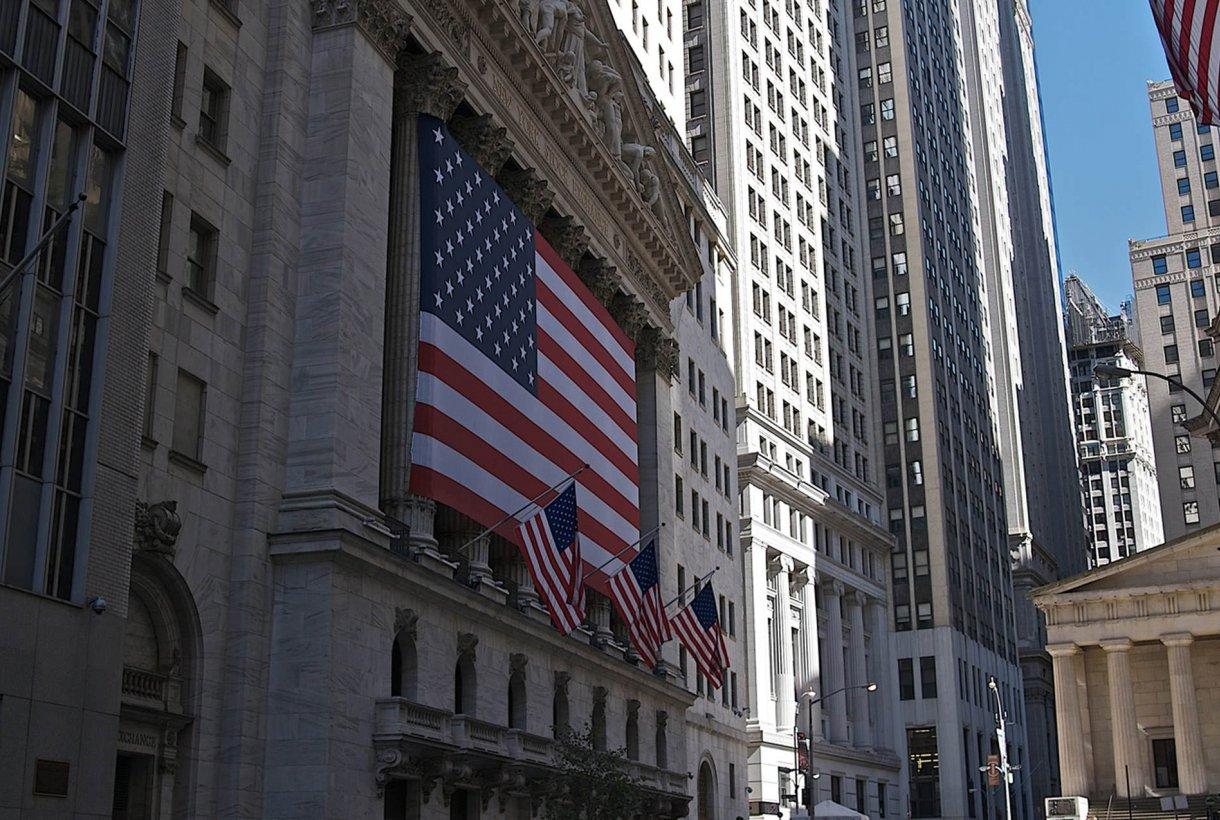 American Flag on Wall Street at Federal Hall National Memorial