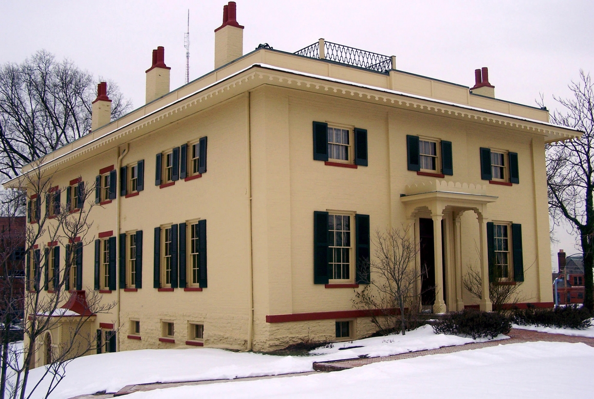 Image of yellow William Howard Taft Historic Site in snow