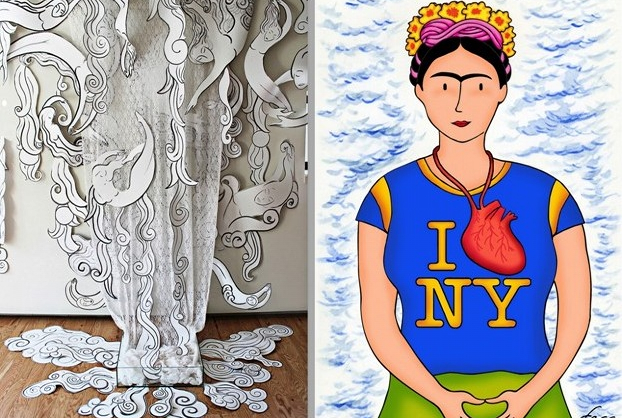 "Artistics works, ""Women of the Water"" by Andrea Arroyo and Felipe Galindo Gómez's ""Frida Loves New York."""