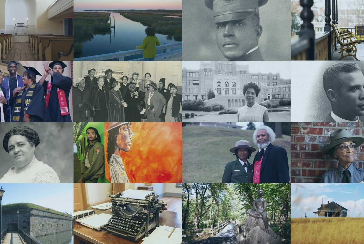 A collage of images featuring parks that preserve the history and legacy of African Americans