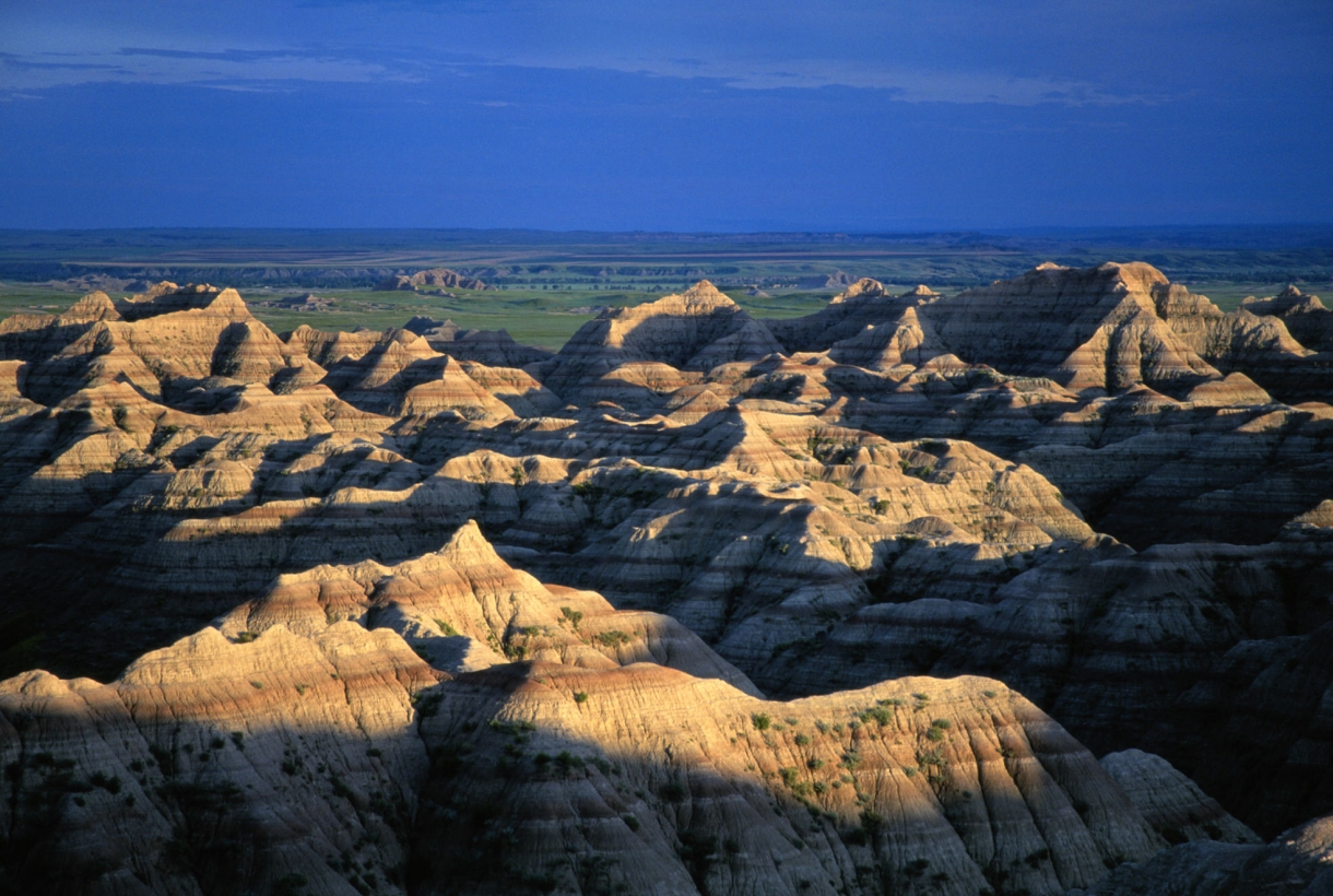 Landscape view of the colorfully banded hills of the Badlands