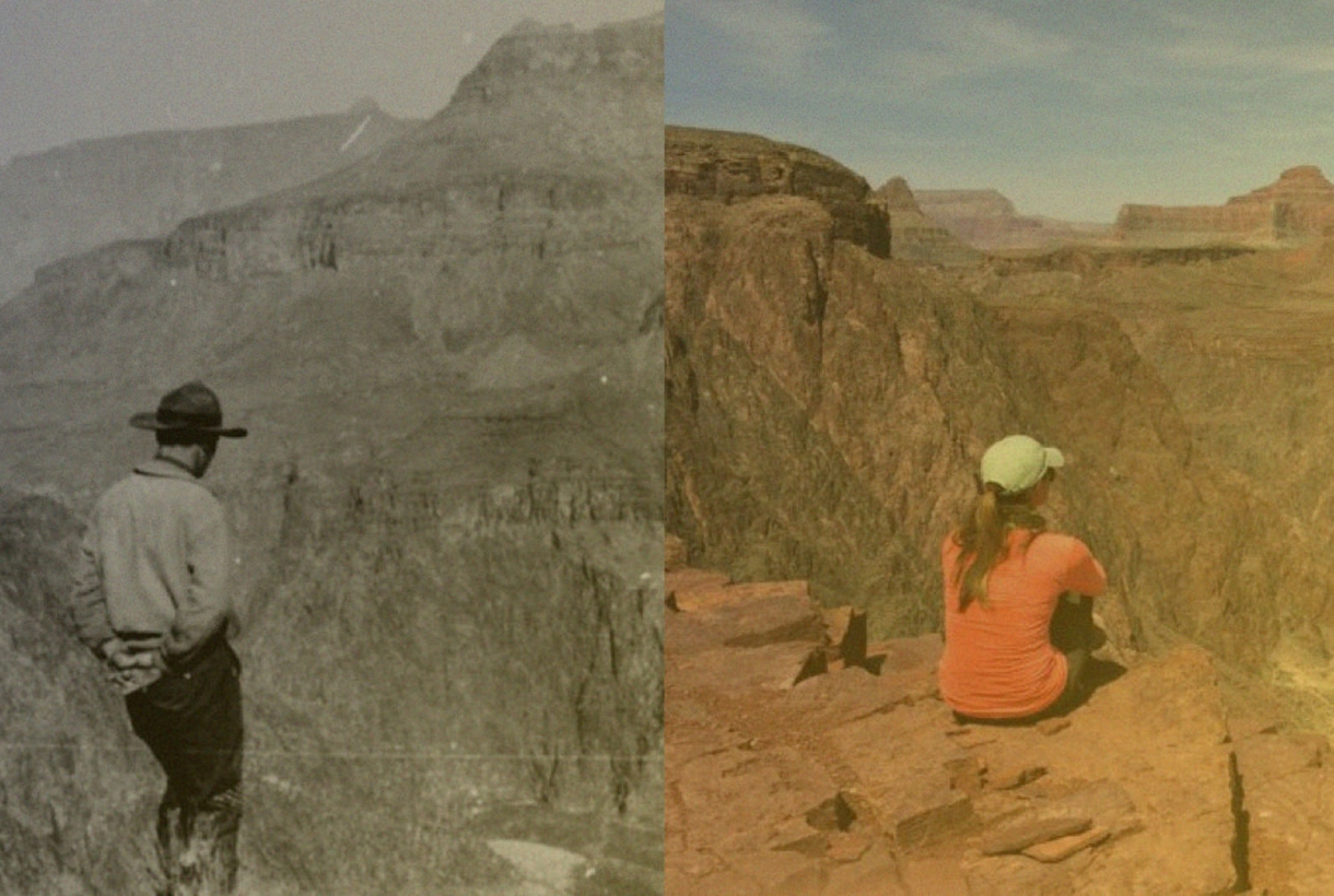 Then and now side-by-side comparison of a man and woman at the same overlook