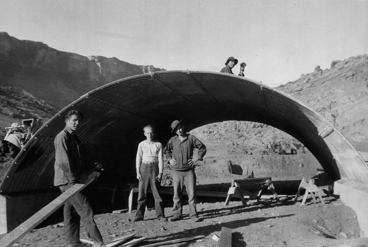 CCC members building a rock culvert at Arches National Park, circa 1939-1941