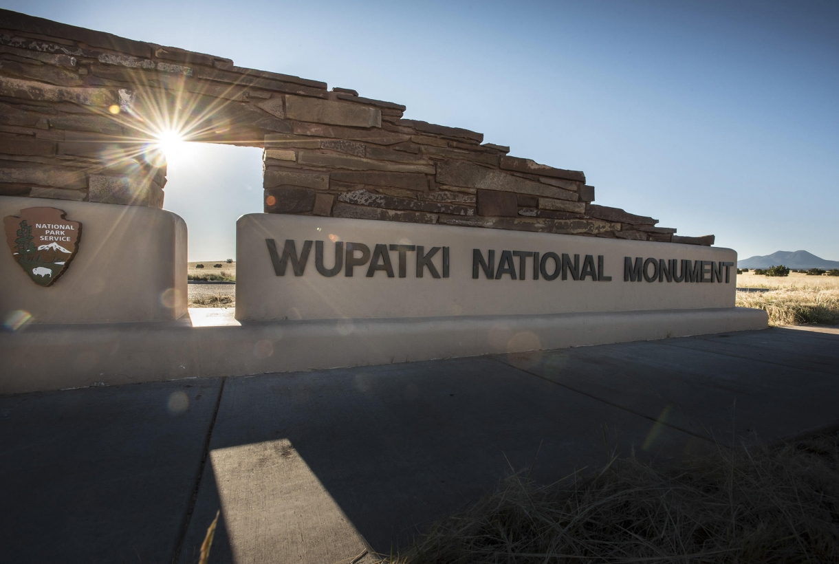 Park entry signage at Wupatki National Monument