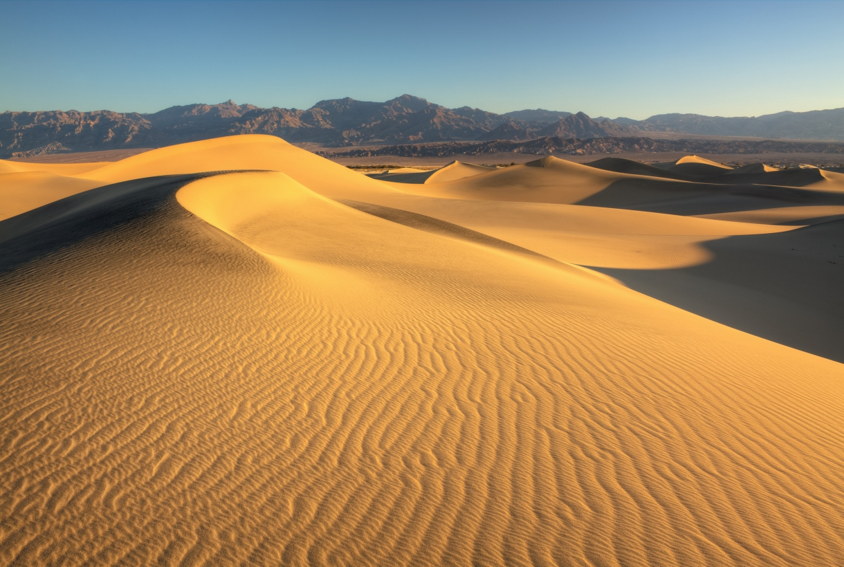 The yellow sand dunes of Death Valley National Park