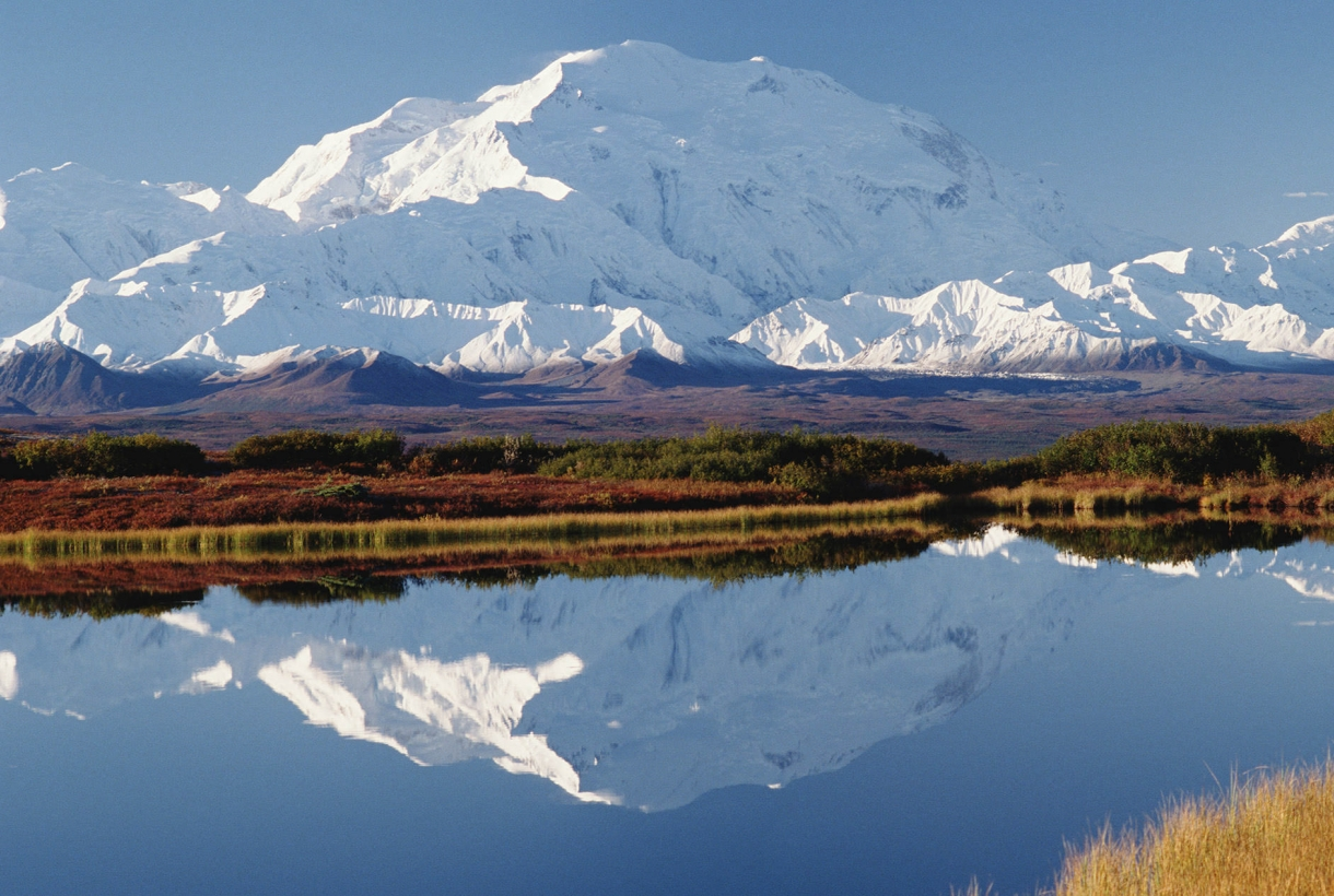 Mountains reflected in a lake at Denali