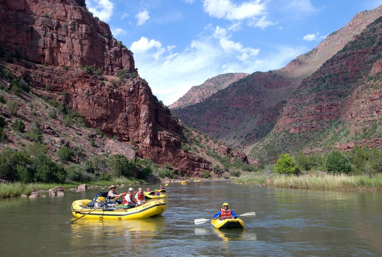 Rafts paddle along the Green River near Lodore Canyon