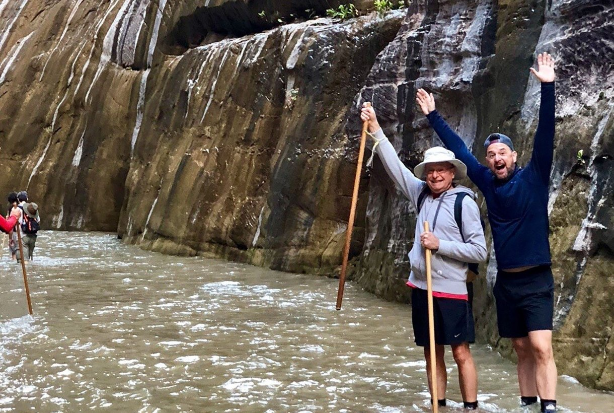 Eric Bloem and his father hiking the Narrows