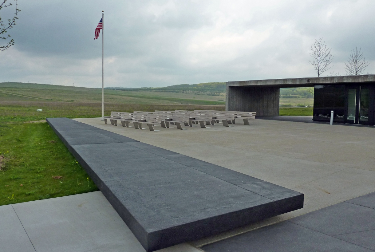 Benches outside of the visitor shelter at the Flight 93 National Memorial