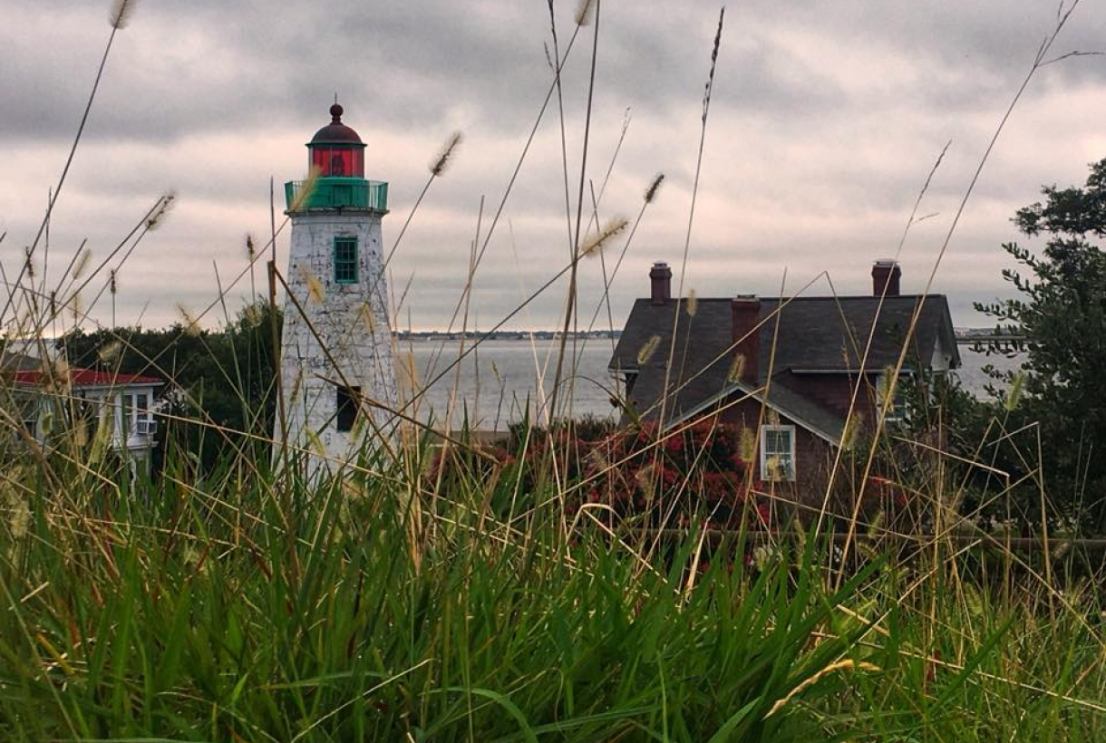 A view through tall green grass onto the white lighthouse in front of the ocean at Fort Monroe National Monument