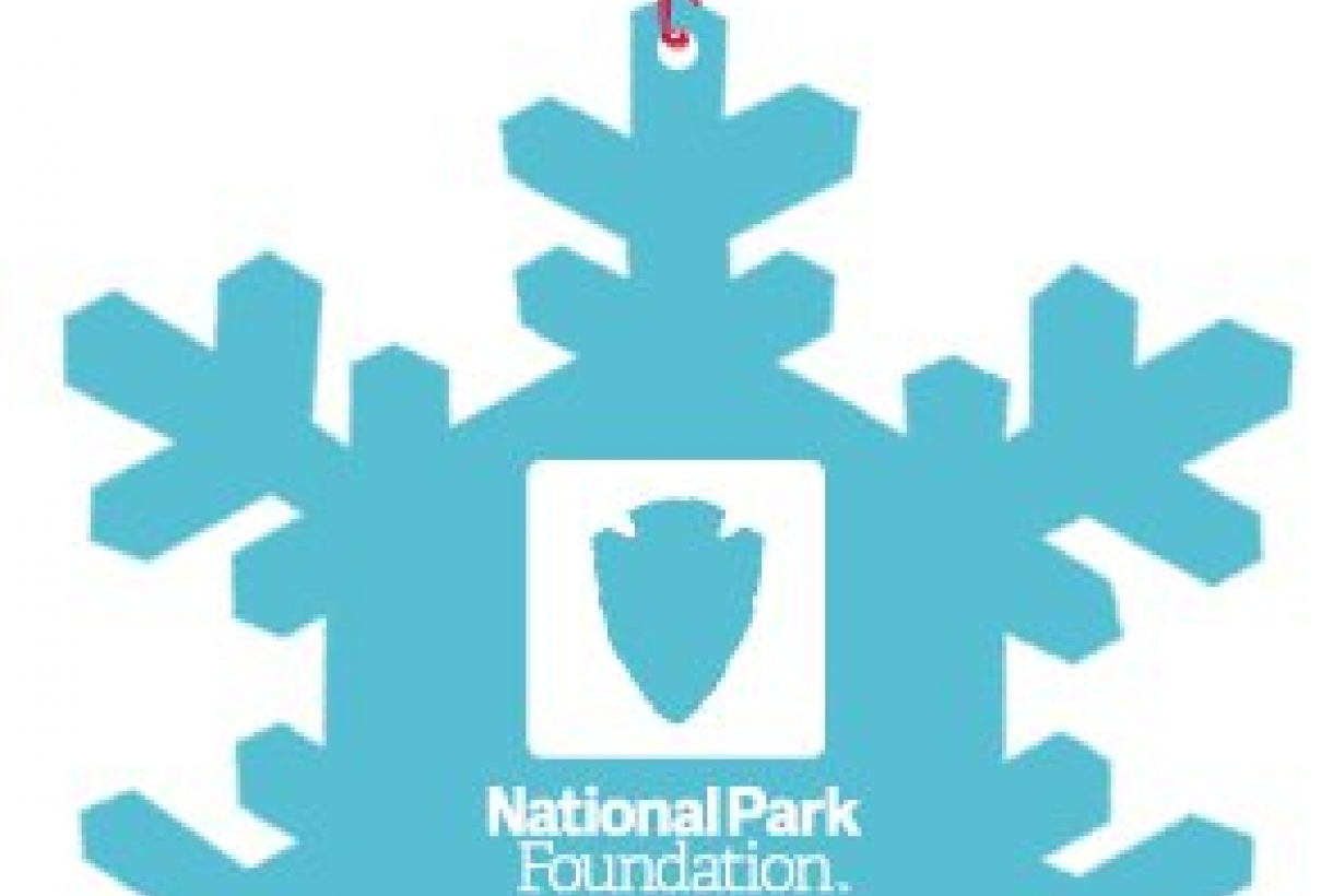 "Blue snowflake ornament reading, ""National Park Education"" in the center"