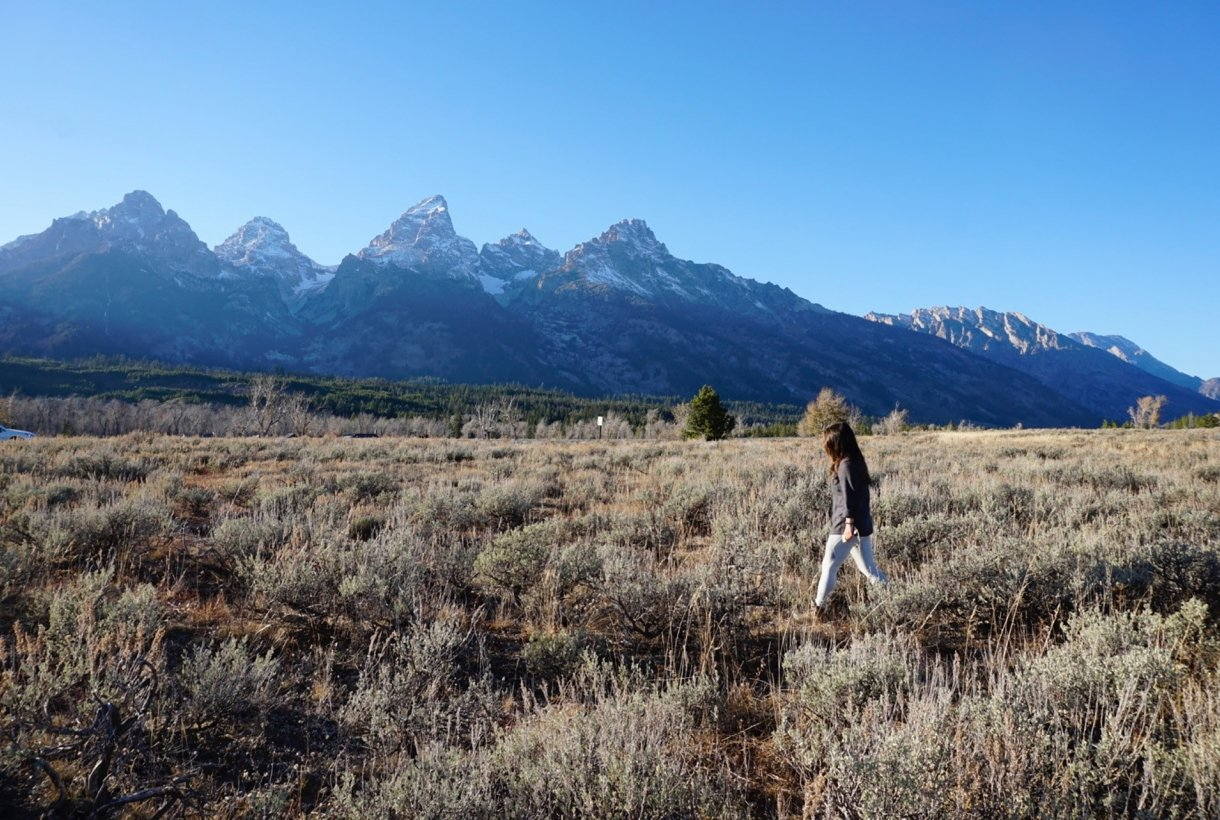 Ashley McEvoy walks in a field in Grand Teton National Park