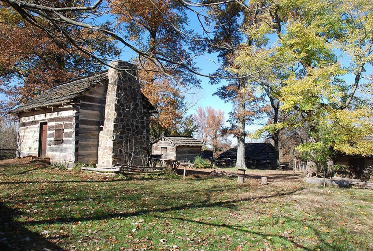 Homestead replica is typical of the 1820s in the fall