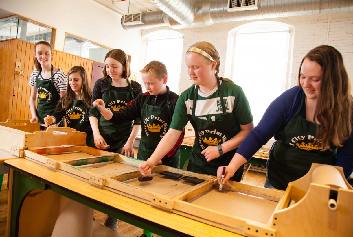 Students engaging in a simulated assembly line