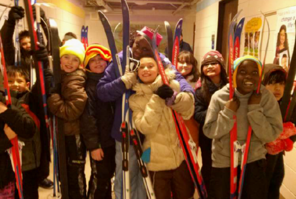 Children with skis at Mississippi National River and Recreation Area