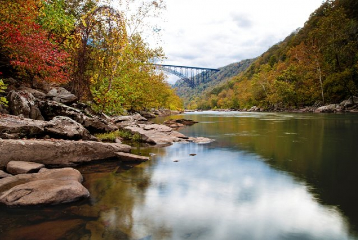 Bridge over water in New River Gorge National River park